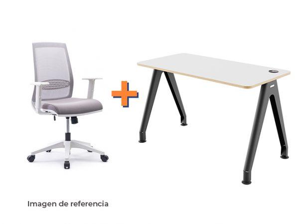 Combo 2 silla y escritorio blanco ergonómico de oficina | Mepal