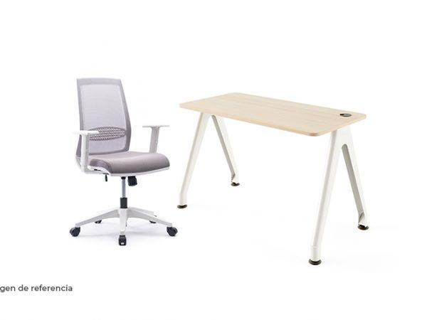 Combo silla y escritorio blanco ergonómico de oficina | Mepal
