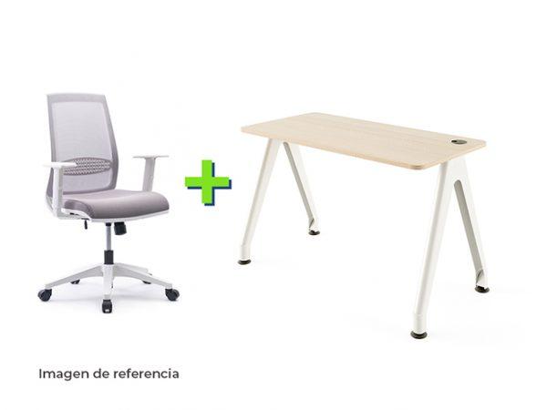 Combo 4 Blanco silla y escritorio blanco ergonómico de oficina | Mepal